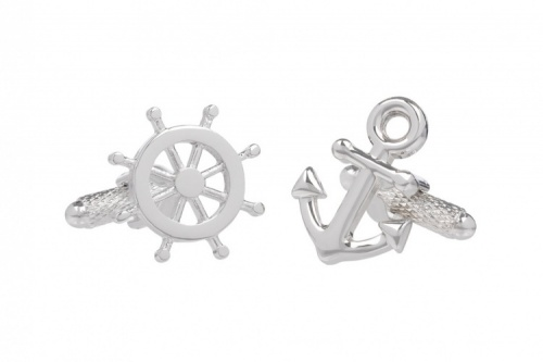 Ships Plain Anchor and Wheel Cufflinks